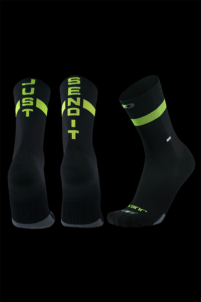 M2O Endurance Just Send It Crew Plus Compression Sock-Black/Green - M2O Industries