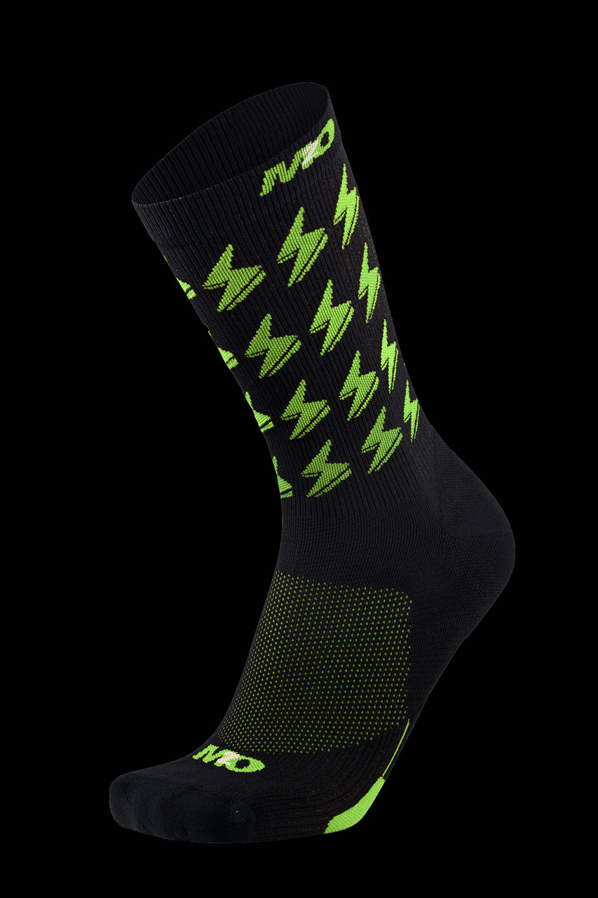 M2O Bolt Crew Plus Compression Socks - Black/Fluro Yellow - M2O Industries