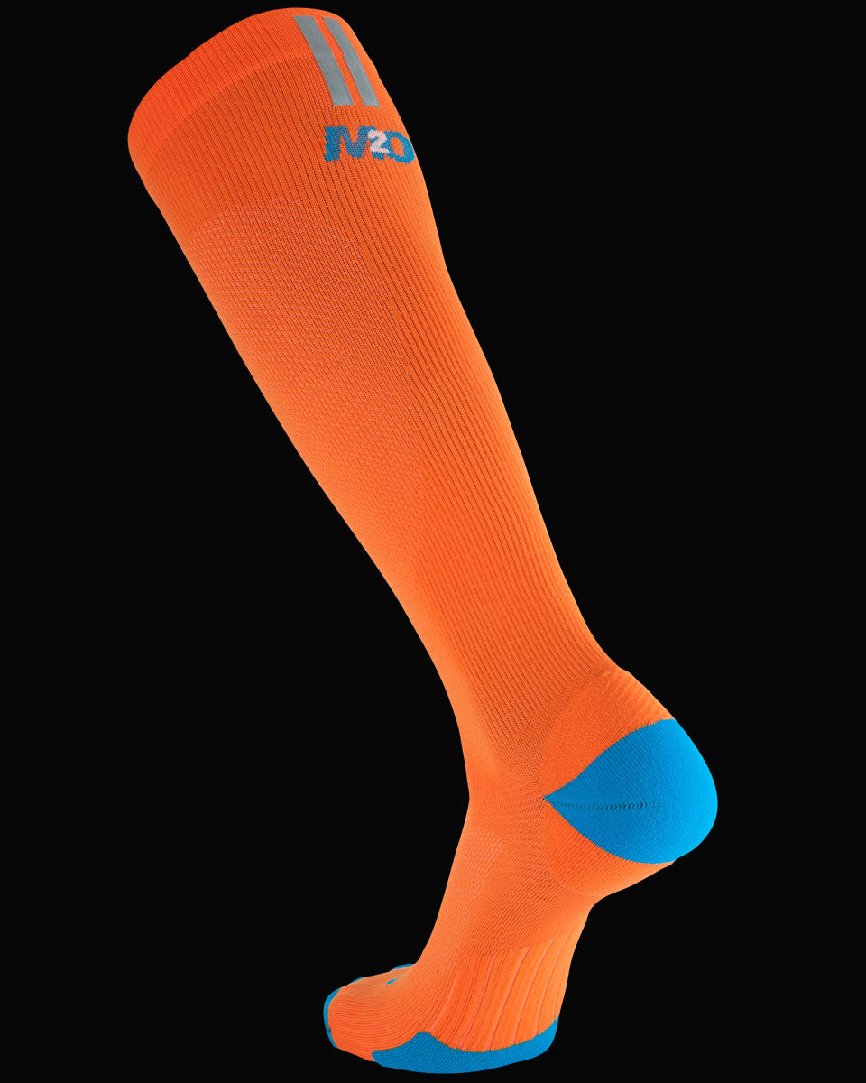 M2O Run Knee High Compression Sock - Orange/Blue - M2O Industries