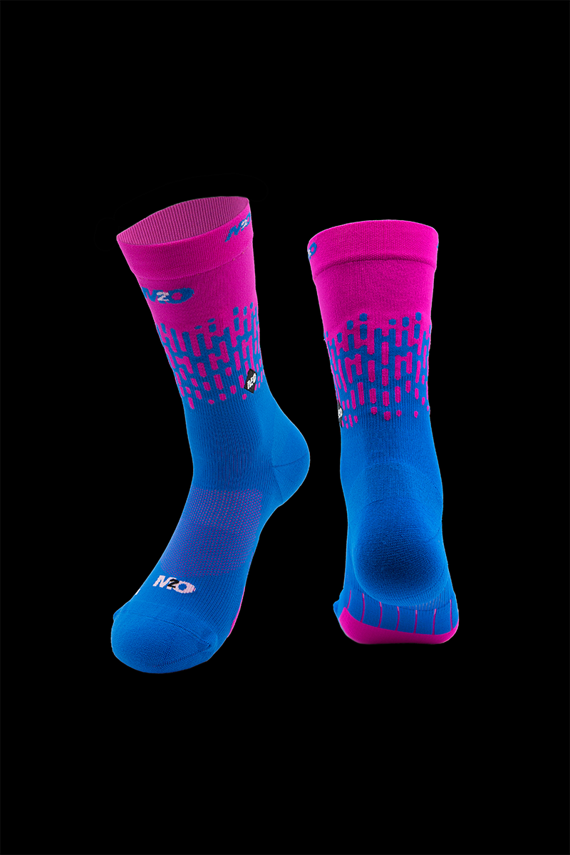 M2O Endurance Rivet Crew Plus Compression Sock- Pink/Blue - M2O Industries