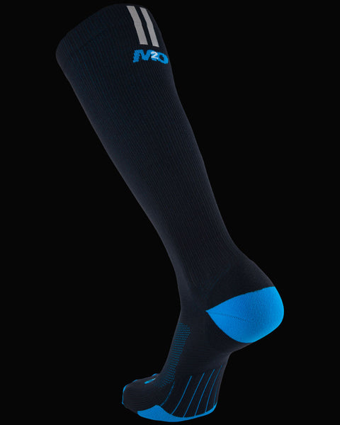 M2O Run Knee High Compression Sock - Black/Blue - M2O Industries