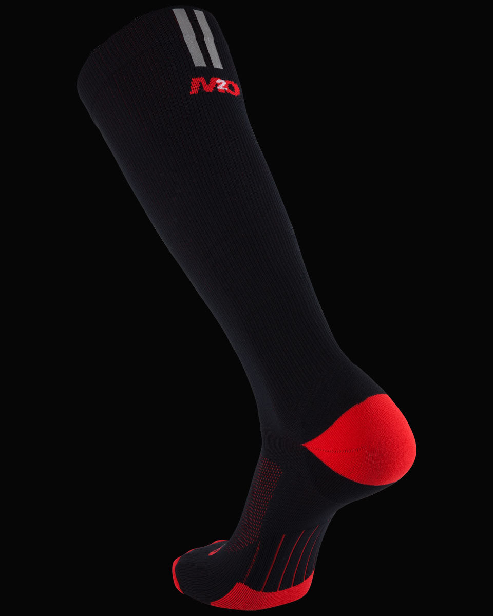 M2O Run Knee High Compression Sock - Black/Red - M2O Industries