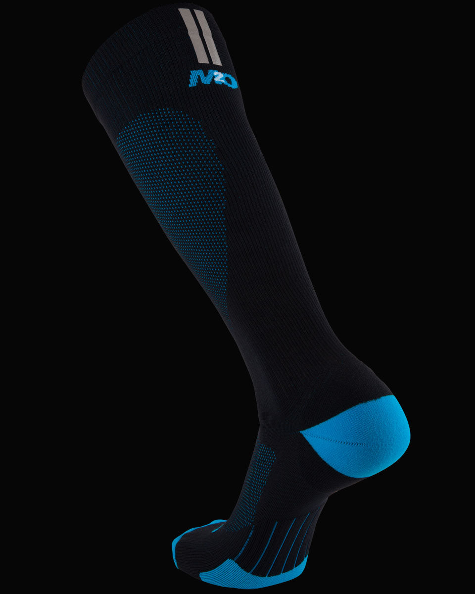 M2O Run Tech Knee High Compression Sock - Black/Blue - M2O Industries