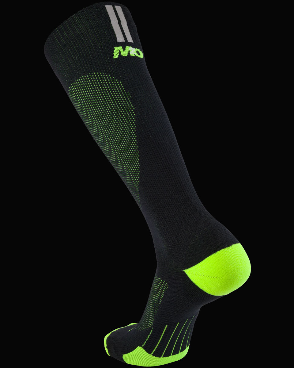 M2O Run Tech And Sports Compression Sock - Black/Fluro Yellow - M2O Industries