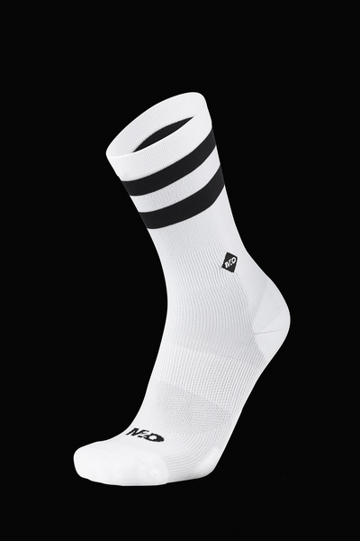M2O Active Range Stripe Crew Plus Socks - White Black - M2O Industries
