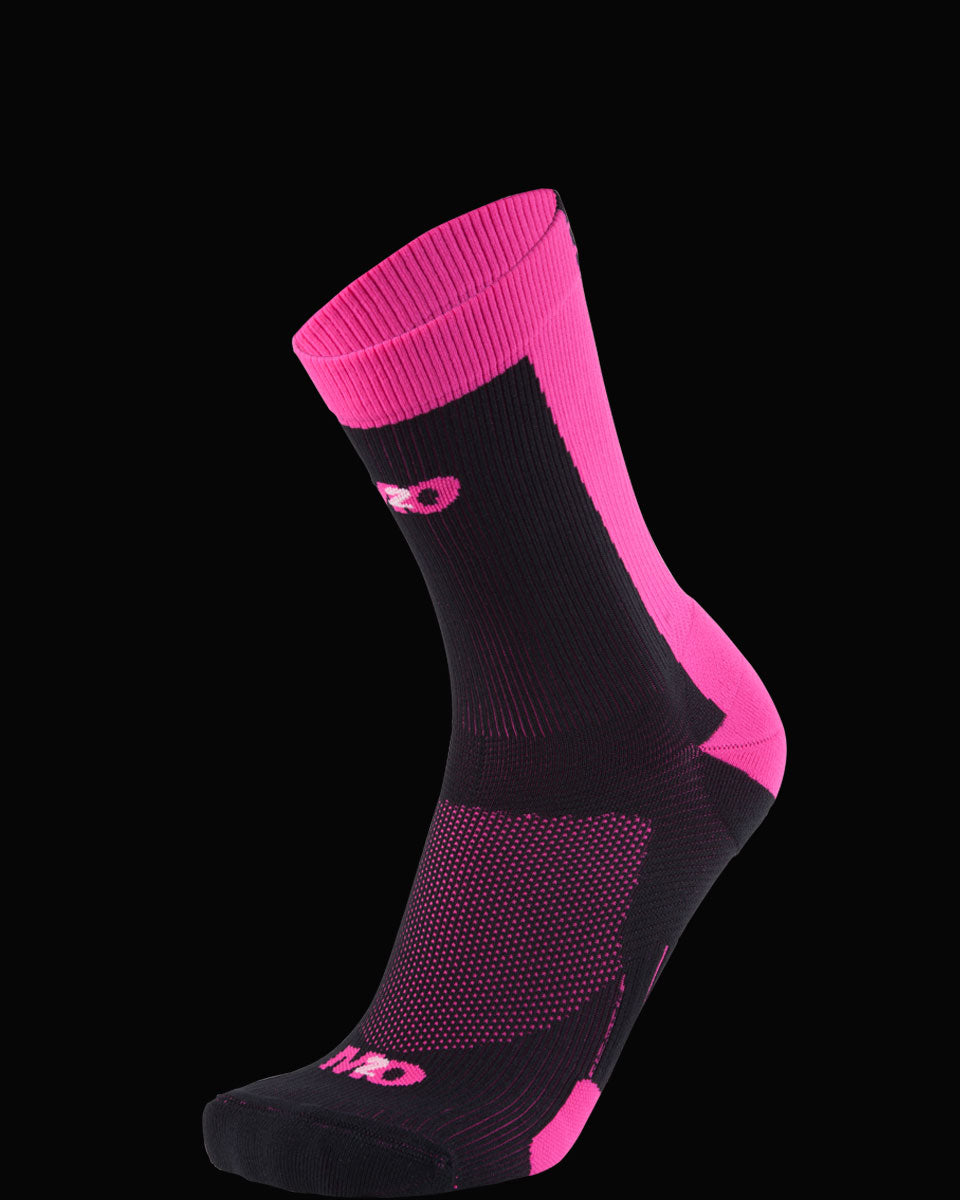 M2O Shield Crew Compression Sock - Black/Pink - M2O Industries