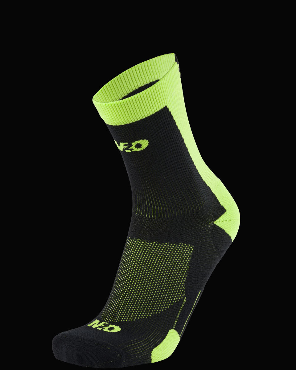 M2O Shield Crew Compression Sock - Black/Fluro Yellow - M2O Industries