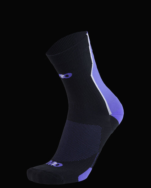 M2O Shift Crew Compression Sock - Black/Purple - M2O Industries