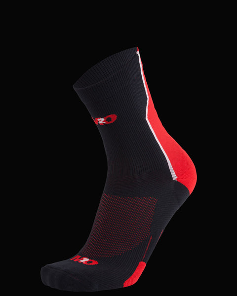 M2O Shift Crew Compression Sock - Black/Red - M2O Industries