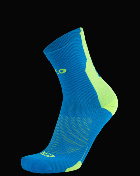 M2O Shift 3/4 Cycling And Sports Compression Sock - Blue/Fluro Yellow