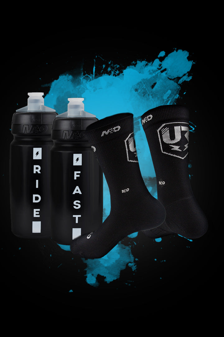 M2O UR Team Crew Plus Socks + 2 Ride Fast Bottle Combo Pack - M2O Industries