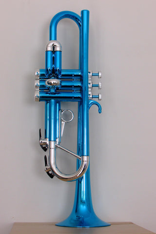 Tromba Plastic Bb Trumpet - Metallic Blue and Silver
