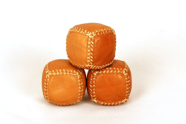 3 Leather Bean Bags for Professional Jugglers, Leather Juggling Balls, Custom weight balls, Ready to ship.