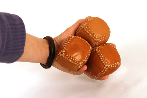 3 Leather Bean Bags for Medieval Jugglers,