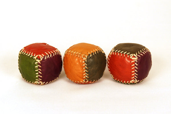 Set of 3 six-piece leather juggling  balls