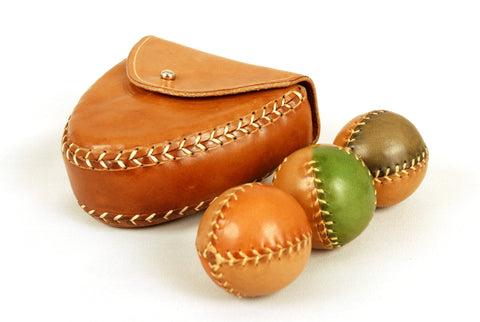 3 Juggling Balls 45mm and Ball Case, Bicolor Balls, Gift for Kids, Leather Belt Bag.