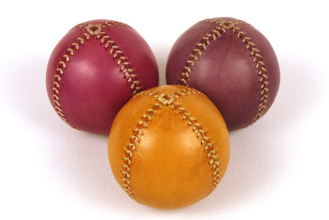 Set of 3 leather juggling balls, 75mm diameter, Yellow, Violet, Blue violet, for Juggler.