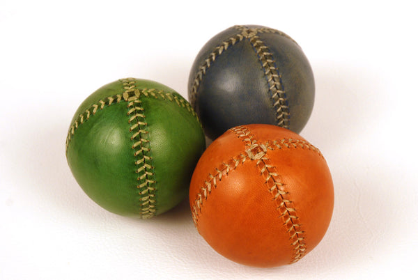 Set of 3 leather juggling balls, 75mm, Orange, Green, Blue, Learn to juggling, for Juggler.
