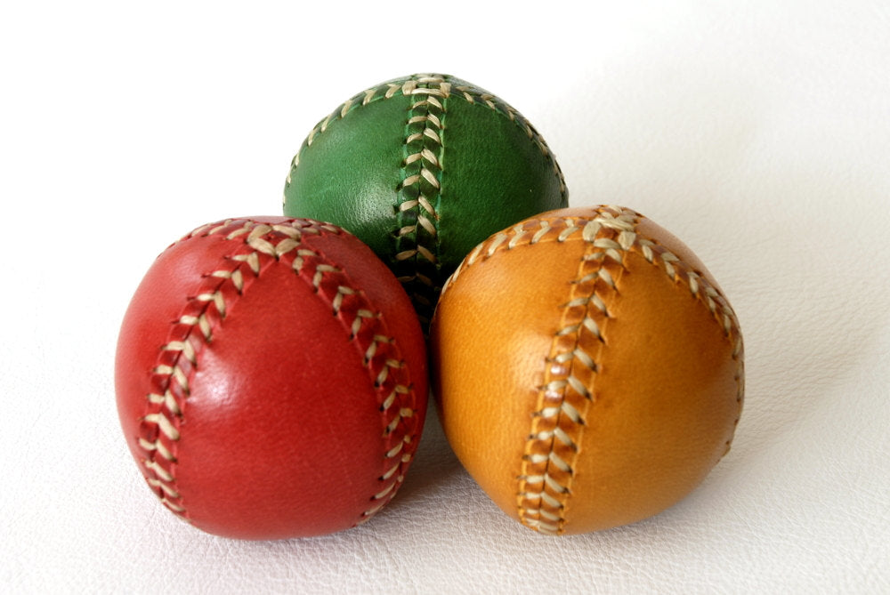 Set of 3 leather juggling balls, red, green, blue, juggling balls, gift for jugglers, 55mm diam.
