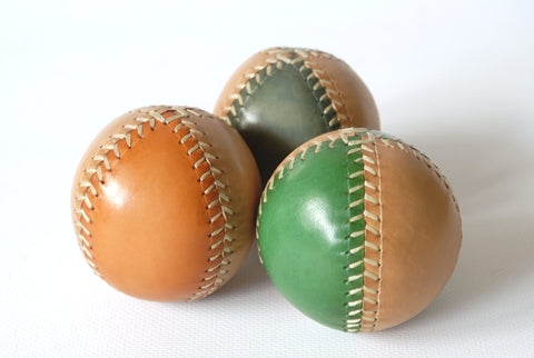 Set of 3 leather juggling balls, 3 Two-Colored Juggling Balls, Gift for jugglers.