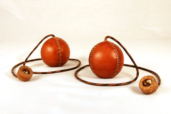 Set of two contact poi. Vintage Poi. Leather poi. Juggling poi. Leather balls. 75mm, 175gr. approx.
