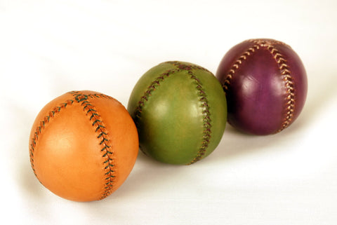 Set of 3 leather juggling balls, 75 mm, 175 gr, Juggling balls, Orange, Green, Violet.