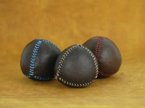 Set 3 leather juggling balls (4 piece), leather balls, for jugglers, chocolat leather