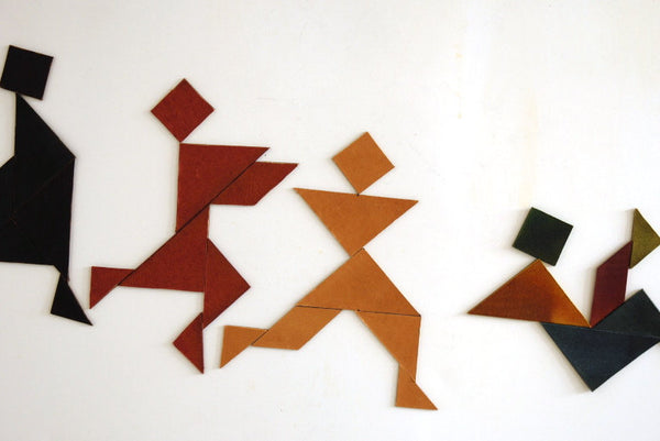 Magnetic leather tangram