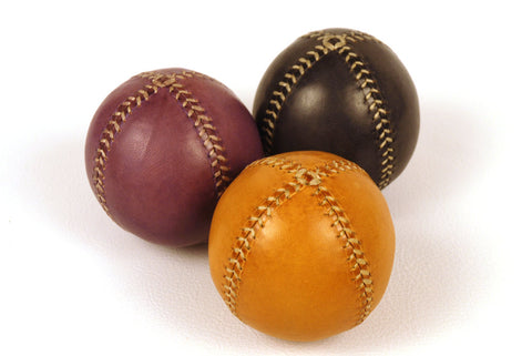 Set of 3 leather juggling balls, 75mm, Juggling balls, Yellow, Violet, Black, for Jugglers.