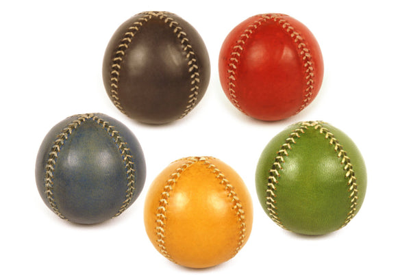 Set 5 Leather Juggling Balls, Gift for jugglers, Professional Juggler, Olimpic Colors.