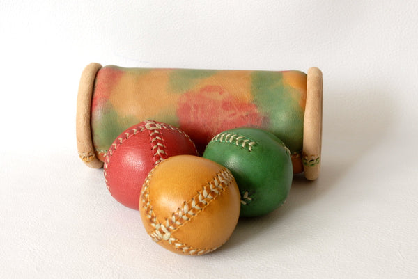 Set of 3 leather juggling balls 55mm and case, leather balls, balls case, for juggler, kids gift.