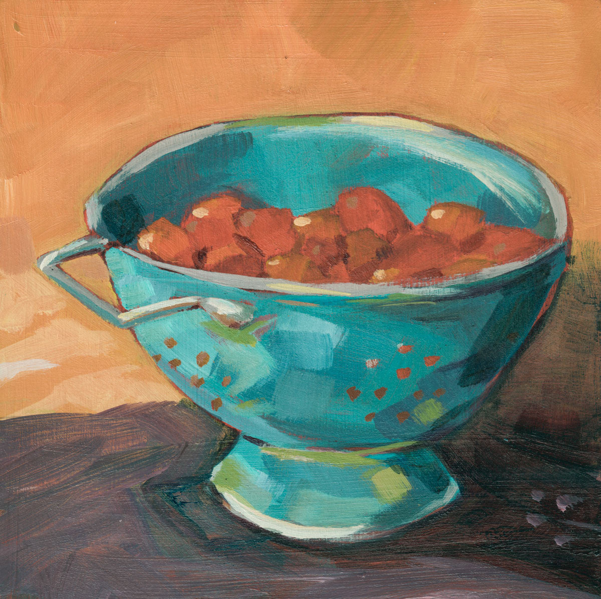 0434: Cherry Tomatoes in a Blue Colander