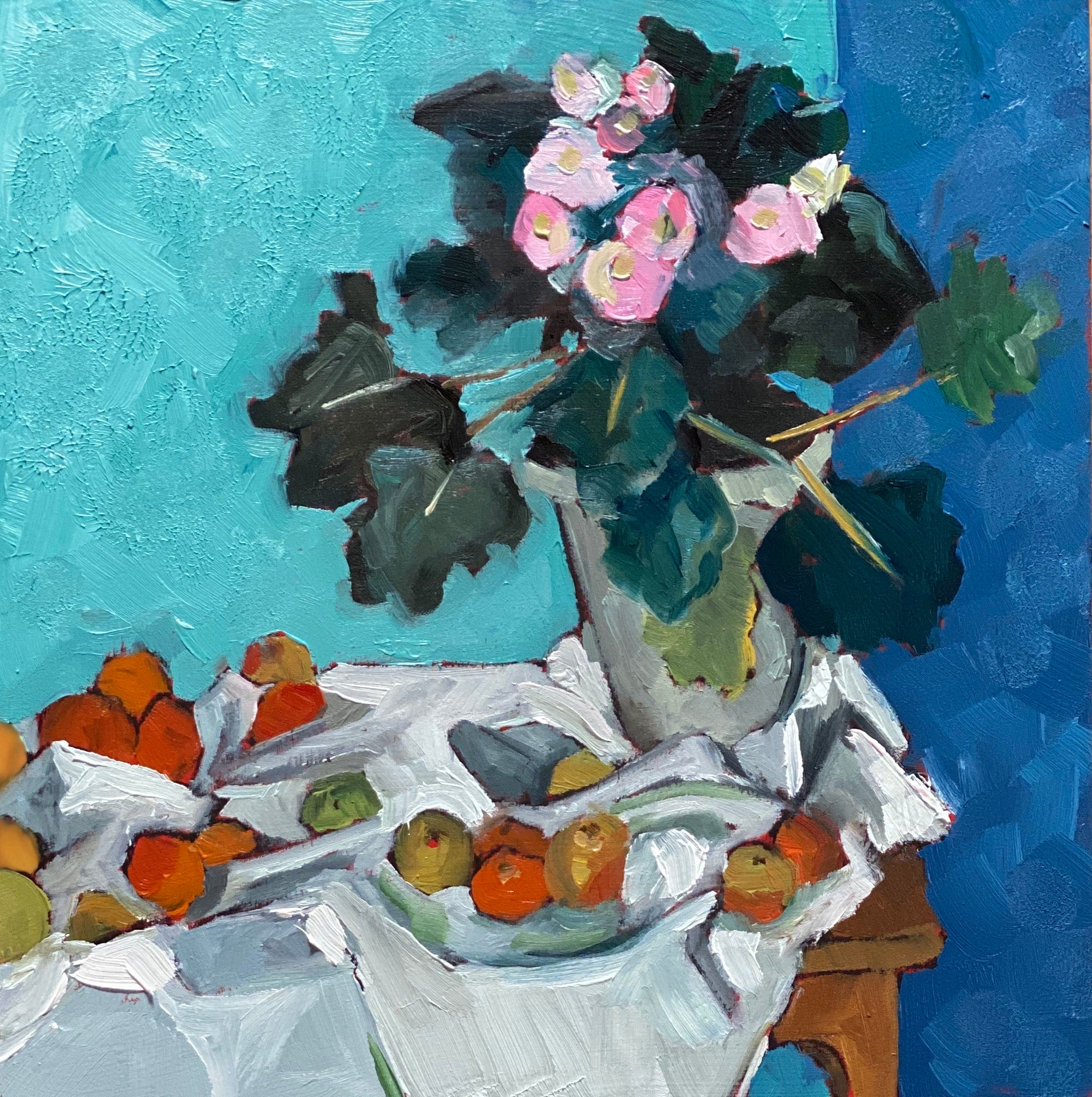 1690: Study of Still Life with Apples and a Pot of Primroses by Paul Cezanne