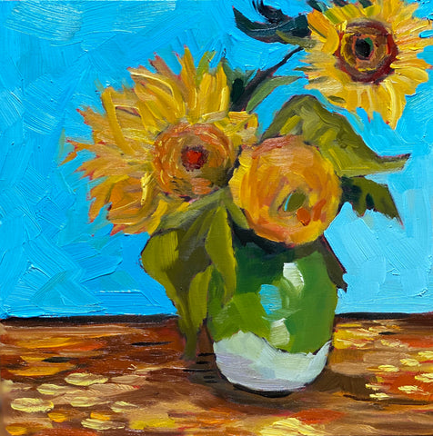1688: Study of Three Sunflowers in a Vase by Vincent Van Gogh