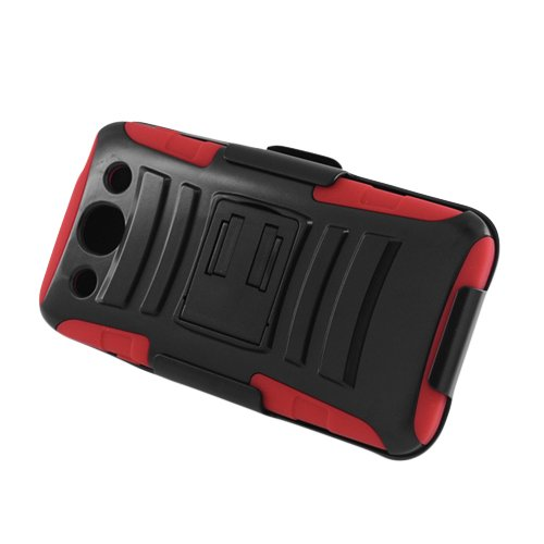 FOR LG Optimus G pro /E980 RED SKIN CASE HYBRID CASE BLACK with Stand & BLACK HOLSTER