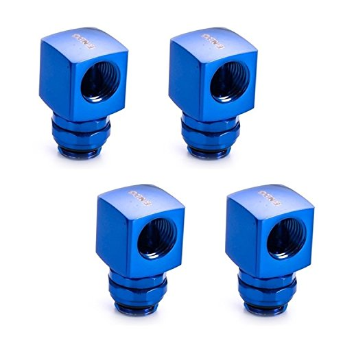 Enzotech G1/4 90° Rotary Fitting, Blue, 4-pack