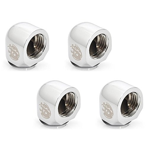 Bitspower G1/4 Male to Female Extender Fitting, 90° Angle, Silver Shining, 4-pack