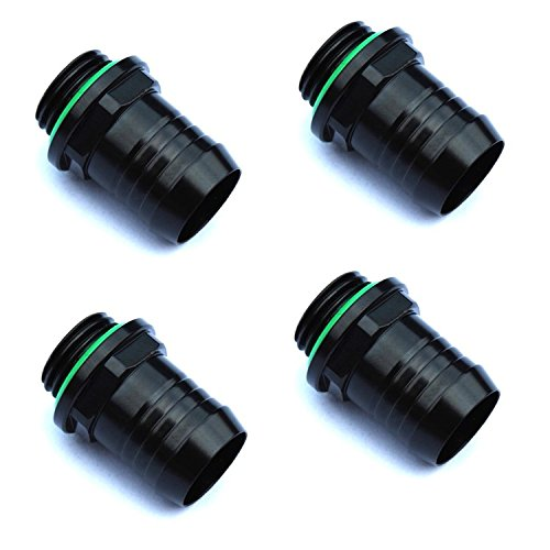 Bitspower G1/4 to 1/2 Barb Fitting, Matte Black, 4-pack