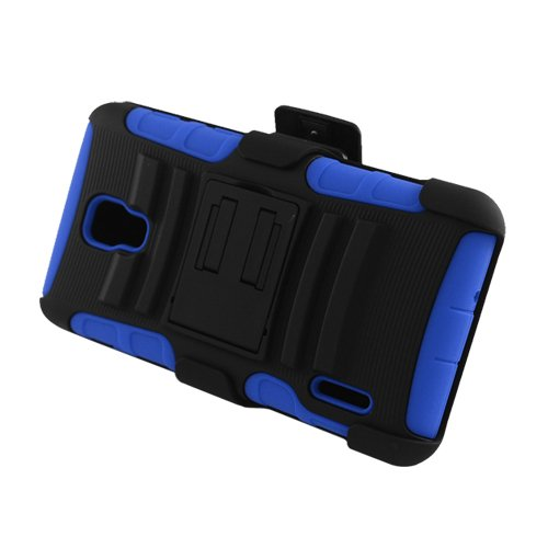 Eagle Cell Hybrid Skin Case with Stand and Holster for LG Optimus F7 - Retail Packaging - Blue/Black