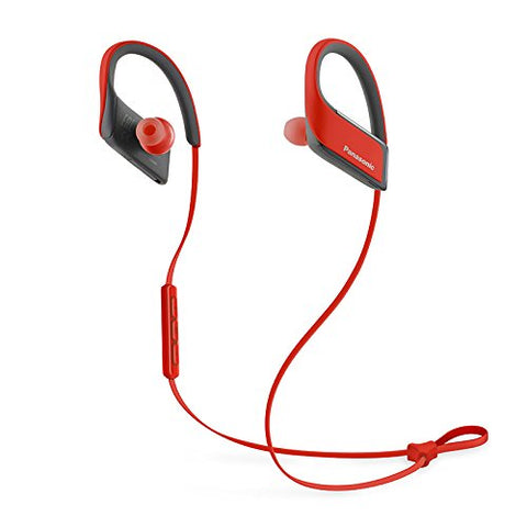 Panasonic Wings RP-BTS30-R Wireless Bluetooth In-Ear Earbuds Noise Isolating Water Resist Sport Headphones with Mic and Controller – Victory Red