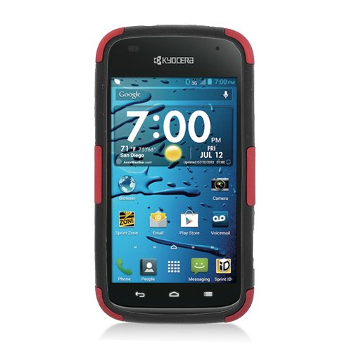 Eagle Cell Kyocera Hydro Edge/C5125 Hybrid TPU Cheese Case - Retail Packaging - Black/Red