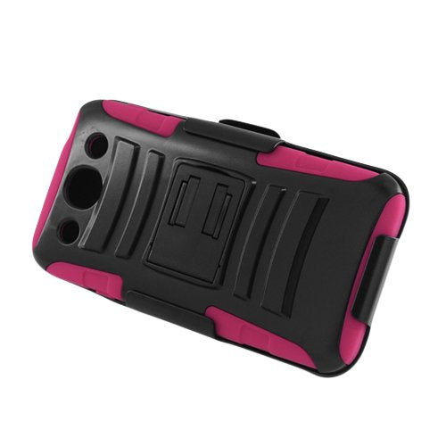 FOR LG Optimus G pro /E980 HOTPINK SKIN CASE HYBRID CASE BLACK with Stand & BLACK HOLSTER