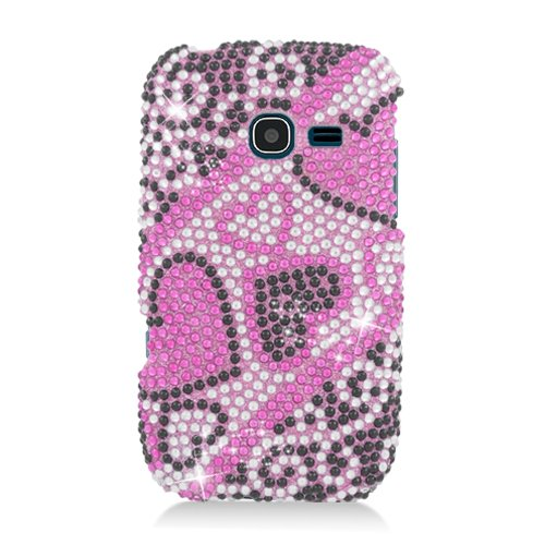 Eagle Cell Samsung Freeform 5/R480C Diamond Dazzle Bling Cover - Retail Packaging - Pink/Black Heart