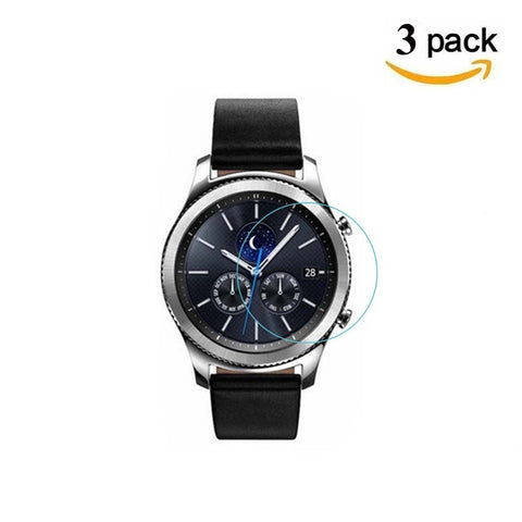 [3 Pack] Samsung Gear S3 Screen Protector, BIUZKO Ultra-thin 2.5D 9H Hardness Crystal Clear Scratch Resistant Tempered Glass for Samsung Gear S3 Frontier / Classic Smart Watch