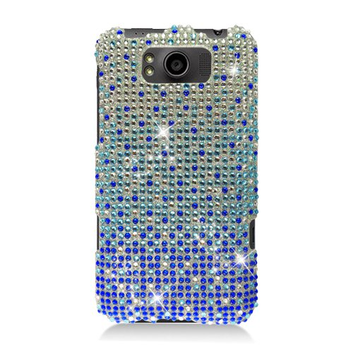 Eagle Cell PDHTCX310F381 RingBling Brilliant Diamond Case for HTC Titan/Eternity X310e - Retail Packaging - Blue Waterfall
