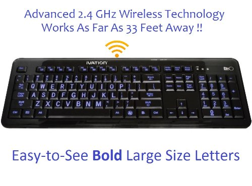 Ivation 2.4 GHz Wireless Blue LED Letter Illuminated Computer Keyboard