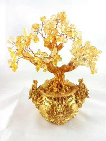 Feng Shui Citrine/ Yellow Crytal Money Tree with Chinese Dragon Pots for Wealth