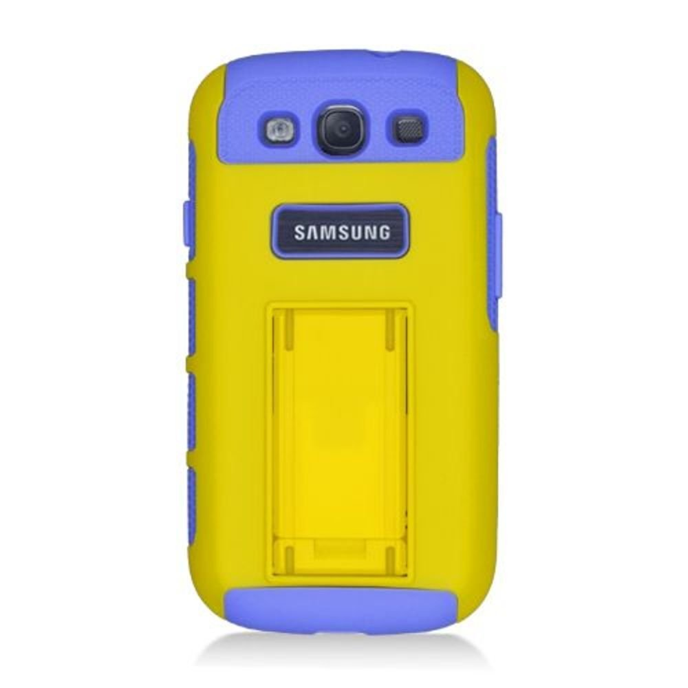 Eagle Cell PHSAMI9300N1PLYE Hybrid Protective Gummy TPU Case for Samsung Galaxy S3 - Retail Packaging - Purple/Yellow