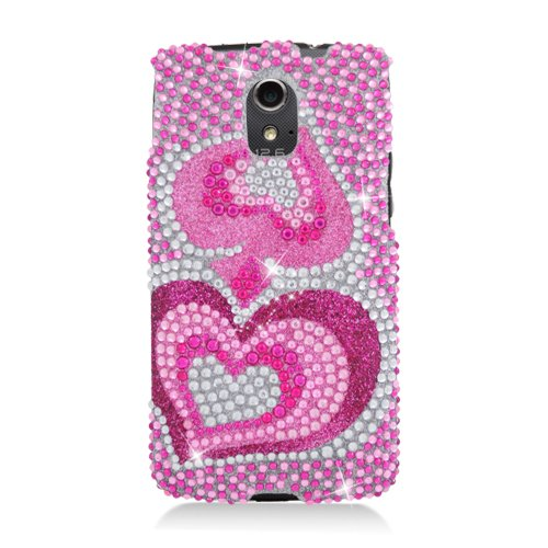 Eagle Cell PDPNP9090F395 RingBling Brilliant Diamond Case for Pantech Discover P9090 - Retail Packaging - Pink Heart