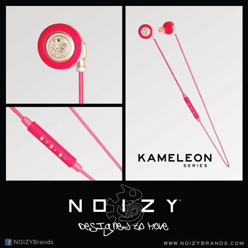NOIZY Brands Kameleon Series Bluetooth Headphones - Pink Earbud Style for all iPhones and 6 and 6+, Samsung Galaxy, HTC, LG, Windows, Blackberry